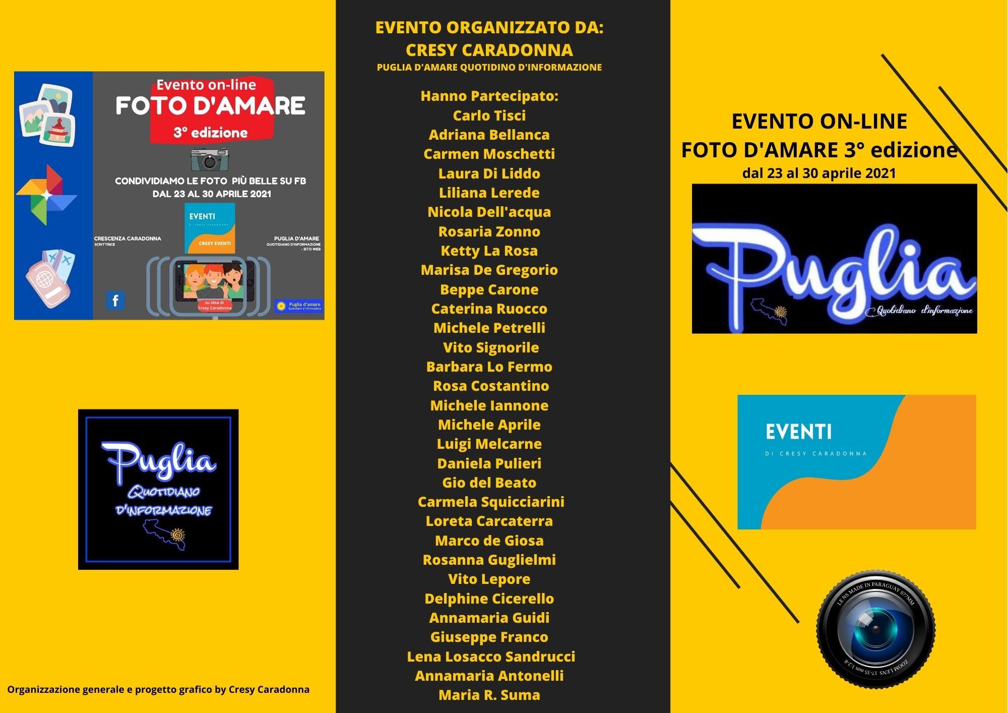 FOTO D'AMARE 3° edizione: i nomi di tutti i partecipanti